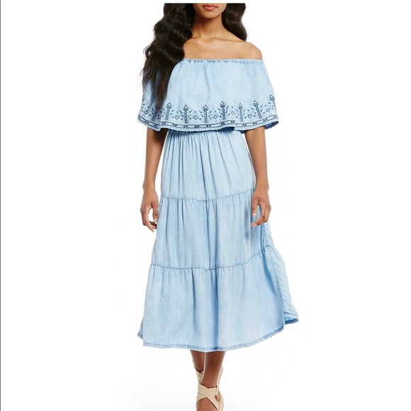 577e3c53d11 NWT On Off Shoulder Chambray Tiered Dress sz 2X